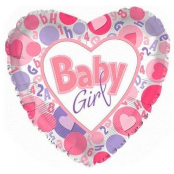 Palloncino Mylar 45 cm. Girl - It's a Girl Hrts In Circle