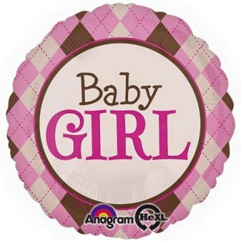 Palloncino Mylar Jumbo 81 cm. Girl - Pink Argyle Baby Girl