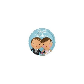 Palloncino Mylar Micro 10 cm. Best Wishes Wedding Couple