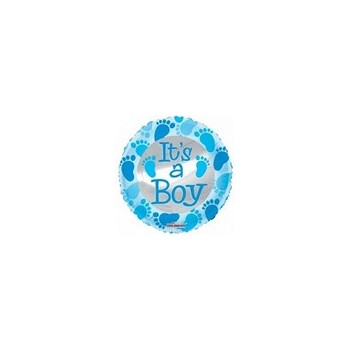 Palloncino Mylar Micro 10 cm. Boy - Baby Blue Foot Prints