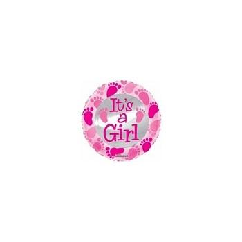 Palloncino Mylar Micro 10 cm. Girl - Baby Pink Foot Prints