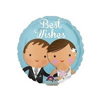 Palloncino Mylar Mini Shape 22 cm. Best Wishes Wedding Couple