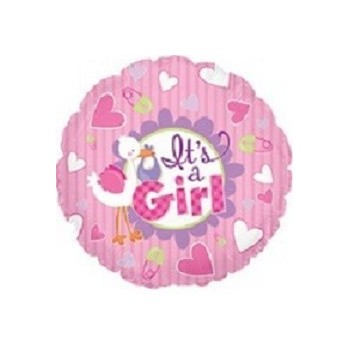 Palloncino Mylar Mini Shape 22 cm. Girl - It's A Girl Stork