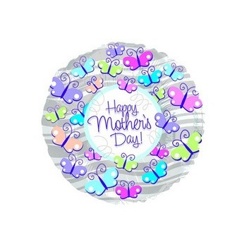 Palloncino Mylar Mini Shape 22 cm. Happy Mother's Day Butterflies and Stripes