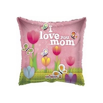Palloncino Mylar Mini Shape 22 cm. I Love You Mom Tulips