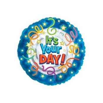 Palloncino Mylar Mini Shape 22 cm. It's Your Day Balloon Blue