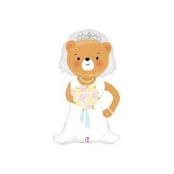 Palloncino Mylar Mini Shape 35 cm. Bride Bear