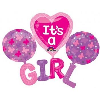 Palloncino Mylar Multi Balloon 134 cm. Girl - It's A G-I-R-L