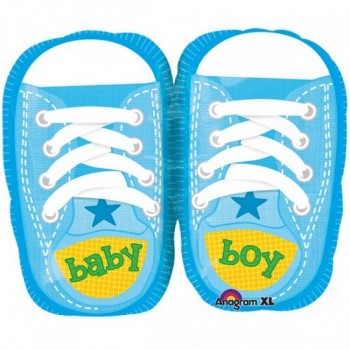 Palloncino Mylar Super Shape 55 cm. Boy - Baby Boy Pretty Blu Shoes