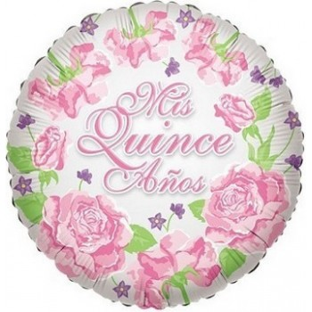 Palloncino Mylar 45 cm. Mis Quince Globo Con Rosas