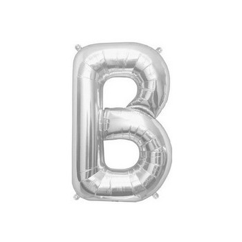 Palloncino Mylar Lettera B Media - 41 cm. Argento