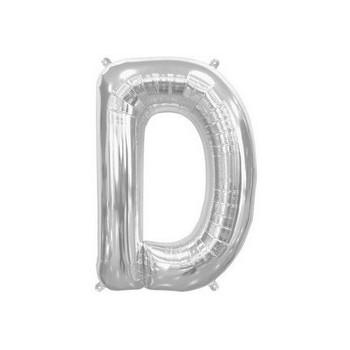 Palloncino Mylar Lettera D Media - 41 cm. Argento