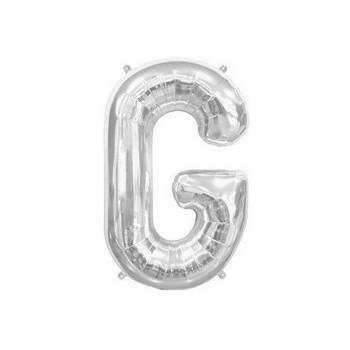 Palloncino Mylar Lettera G Media - 41 cm. Argento