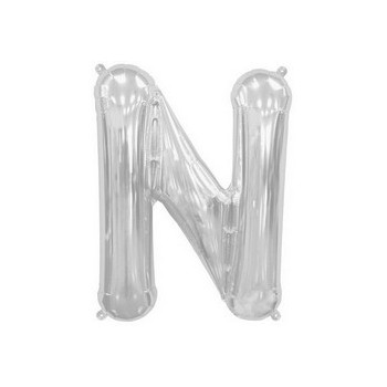 Palloncino Mylar Lettera N Media - 41 cm. Argento