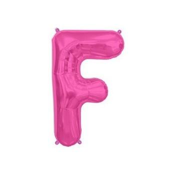 Palloncino Mylar Lettera F Media - 41 cm. Fucsia
