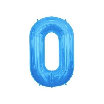 Palloncino Mylar Lettera O, Numero 0 Media - 41 cm. Blu