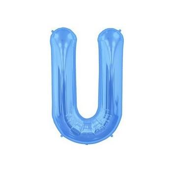 Palloncino Mylar Lettera U Media - 41 cm. Blu
