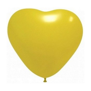 Palloncino in Lattice Cuore 25 cm. Giallo