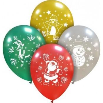 Palloncino in Lattice Rotondo 30 cm. Stampa Natale Metallizzati Assortiti