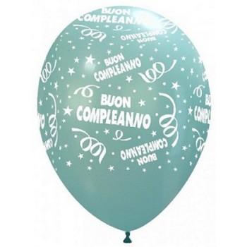 Palloncino in Lattice Rotondo 30 cm. Stampa Buon Compleanno Azzurro