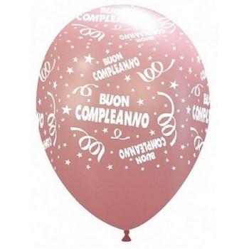 Palloncino in Lattice Rotondo 30 cm. Stampa Buon Compleanno Rosa