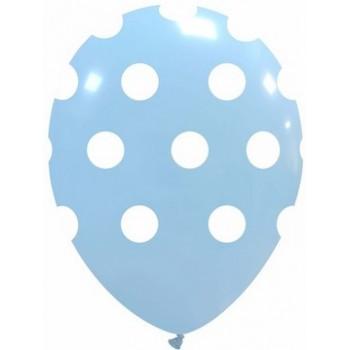 Palloncino in Lattice Rotondo 30 cm. Stampa Pois Azzurro Macaron