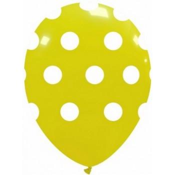 Palloncino in Lattice Rotondo 30 cm. Stampa Pois Giallo