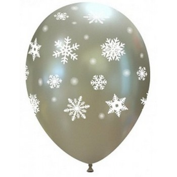Palloncino in Lattice Rotondo 30 cm. Stampa Fiocchi di Neve Argento