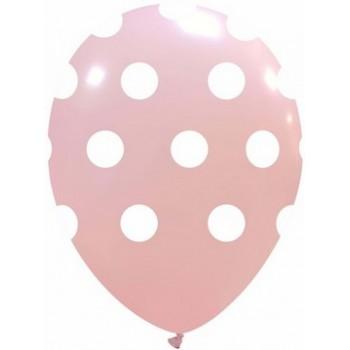 Palloncino in Lattice Rotondo 30 cm. Stampa Pois Rosa Confetto