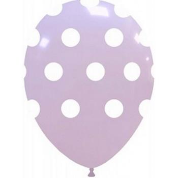 Palloncino in Lattice Rotondo 30 cm. Stampa Pois Lilla Macaron