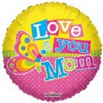 Palloncino Mylar 45 cm. I Love You Mom Butterfly