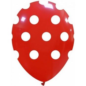 Palloncino in Lattice Rotondo 30 cm. Stampa Pois Rosso