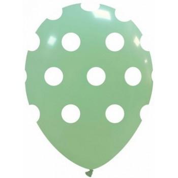 Palloncino in Lattice Rotondo 30 cm. Stampa Pois Verde Macaron