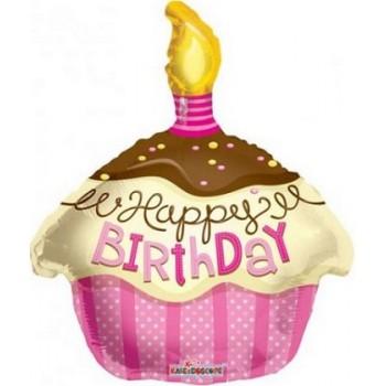 Palloncino Mylar 45 cm. T - Cupcake Pink Happy Birthday