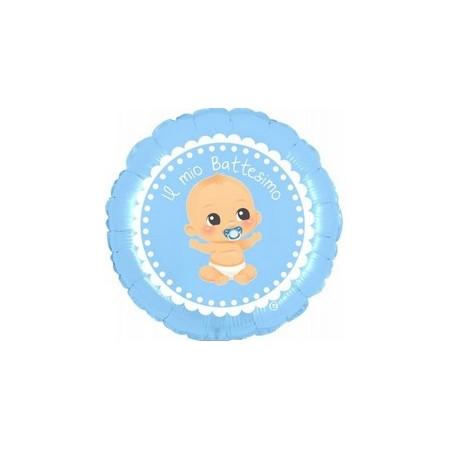 Palloncino Mylar Mini Shape 25 cm. Battesimo Azzurro