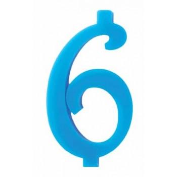 Candela Blu 6 con supporto H. 7 cm.