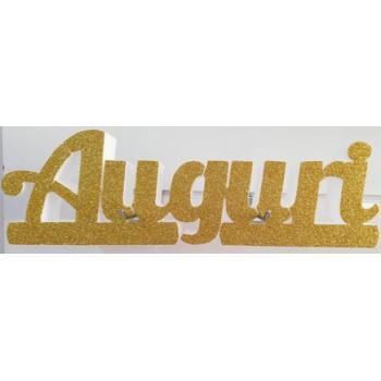 Polistirolo - Scritta Auguri Glitter autoportante personalizzabile profondità 5 cm. max - L.50/60 cm. max - H.15/20 cm.