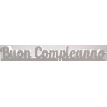 Polistirolo - Scritta Buon Compleanno Bianco autoportante personalizzabile, profondità 5 cm. max - L.100 cm. max - H.1
