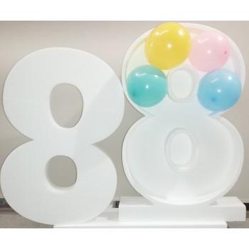 Polistirolo - Numero singolo Bianco porta palloncini o caramelle, autoportante personalizzabile + sagoma interna omaggio