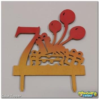 Cake Topper legno decorato - numero e palloncini personalizzabile. cm 15 X h.15