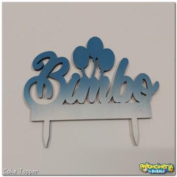 Cake Topper legno decorato - palloncini nome Bimbo personalizzabile. cm 15 X h.10