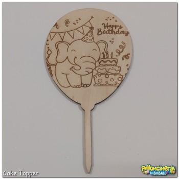 Cake Topper legno grezzo - palloncino elefante HBD personalizzabile. cm 10 X h.20