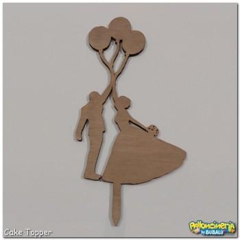 Cake Topper legno trattato - palloncini Sposi personalizzabile. cm 10 X h.22