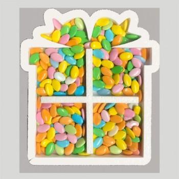 Polistirolo - Contenitore Pacco regalo porta palloncini o caramelle Bianco, personalizzabile profondità 7,5 cm. L.50 cm