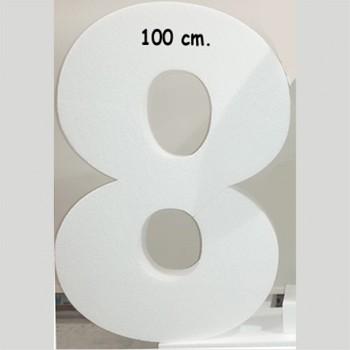 Polistirolo - Lettera o Numero singolo Bianco, autoportante personalizzabile profondità 10 cm. L.60 cm. H.100 cm.