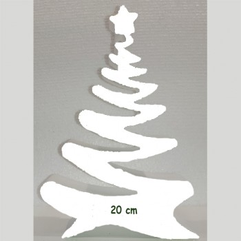 Polistirolo - Sagoma Albero di Natale Bianco autoportante personalizzabile profondità 5 cm. max - L.15 cm. max - H.20 c