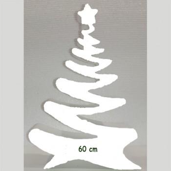 Polistirolo - Sagoma Albero di Natale Bianco autoportante personalizzabile profondità 5 cm. max - L.40 cm. max - H.60 c