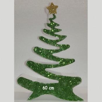 Polistirolo - Sagoma Albero di Natale Decorato autoportante personalizzabile profondità 5 cm. max - L.40 cm. max - H.60