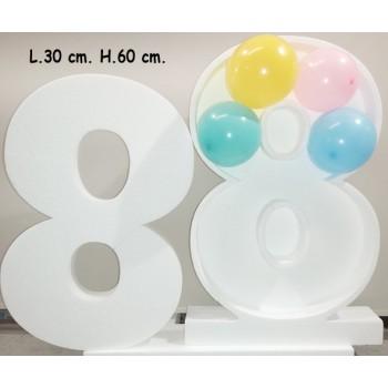 Polistirolo - Lettera o Numero singolo porta palloncini o caramelle Bianco, autoportante personalizzabile + SAGOMA INTER