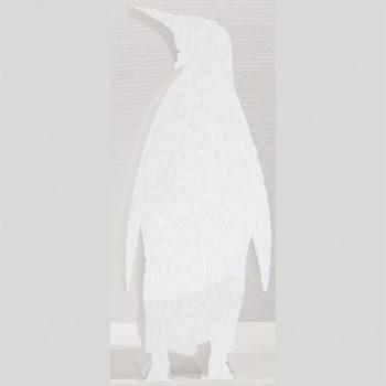 Polistirolo - Sagoma Pinguino Bianca autoportante personalizzabile profondità 5 cm. max - L.20 cm. max - H.40 cm.